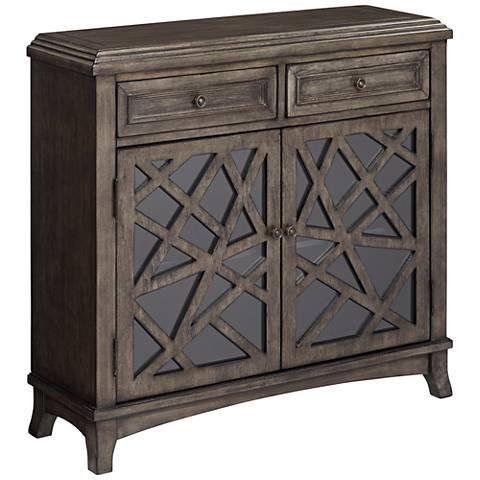 Kingsbury Crazy Cut Jacobean 2-Door Wood Accent Cabinet