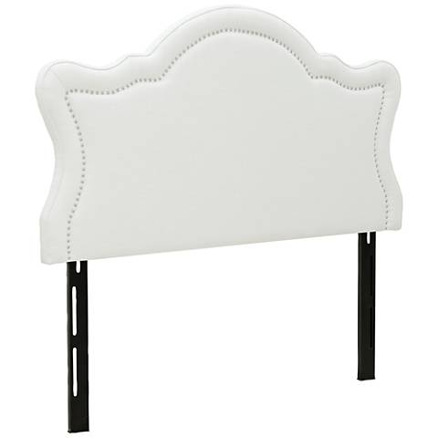 Jennifer Taylor Legacy Antique White Fabric Queen Headboard