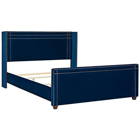 Jennifer Taylor Elle Navy Blue Velvet Queen Wingback Bed