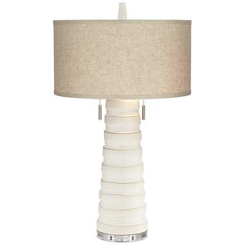 Kathy Ireland Matinee White Ceramic Table Lamp