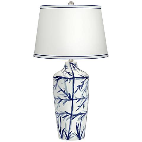 Kathy Ireland Liu Blue Ceramic Table Lamp