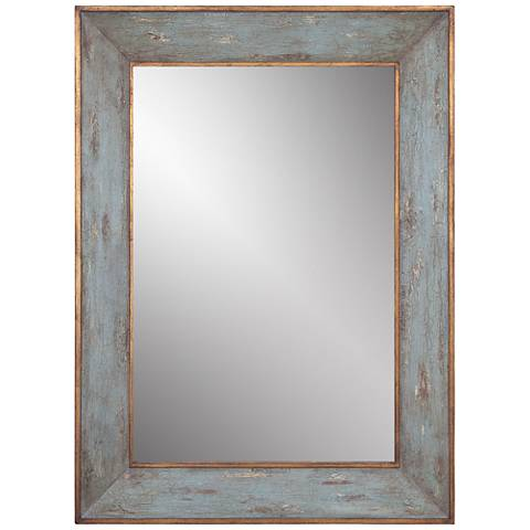 """Manor Blue and Gold 34"""" x 46"""" Rectangular Wall Mirror"""