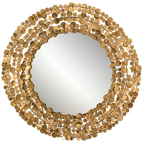 "John Richard Coin Gold 35 1/2"" Round Wall Mirror"