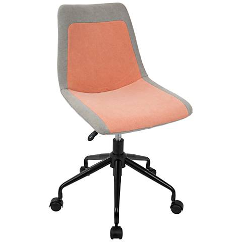 Orzo Gray and Orange Denim Adjustable Task Chair