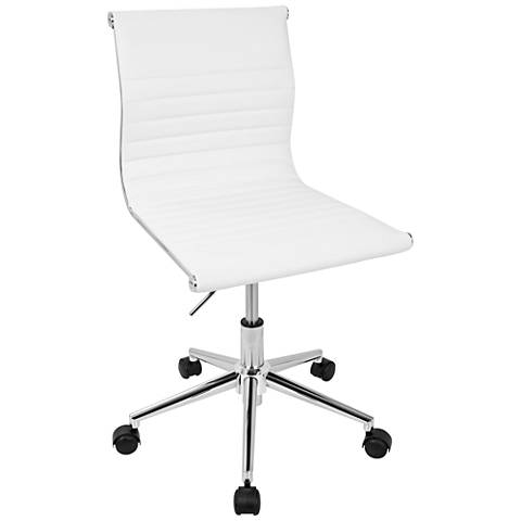 Master White Faux Leather Adjustable Task Chair
