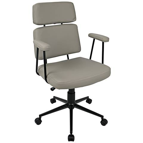Sigmund Gray Faux Leather Adjustable Office Chair