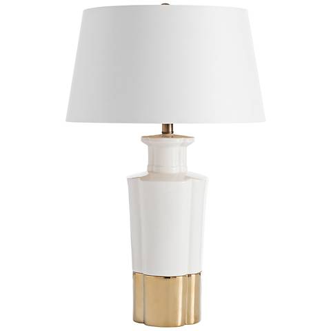 Godfrey White Crackle Glaze and Gold Porcelain Table Lamp