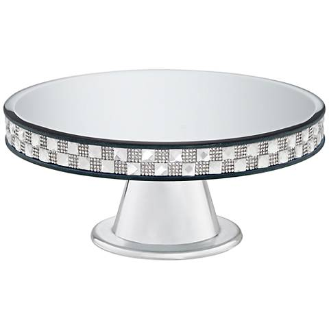 """Ashley Silver Mirror-Top 9 3/4"""" Round Pedestal Cake Stand"""
