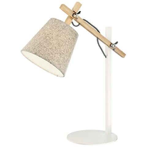 Lite Source Leann Natural Wood and White Metal Desk Lamp