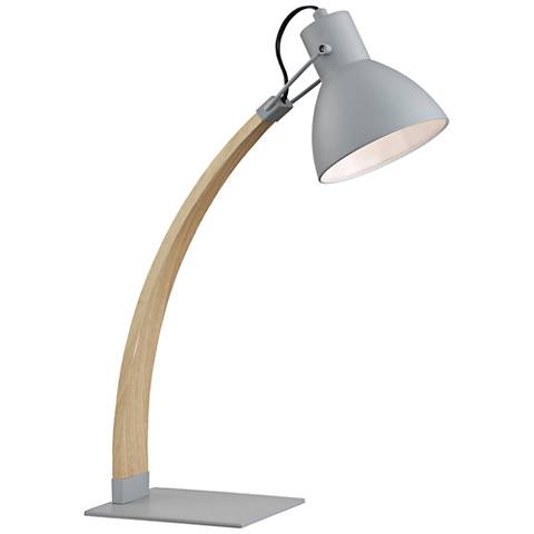 Lite Source Arden Wood and Gray Metal Desk Lamp