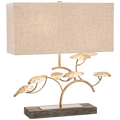 John Richard Zay Gray Concrete and Gold Leaf Tree Table Lamp
