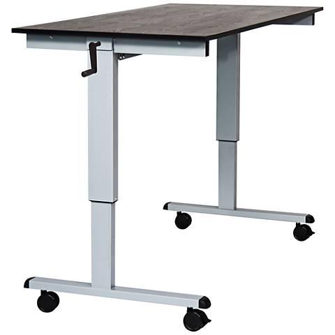 Upas Silver and Black Large Crank Adjustable Stand Up Desk