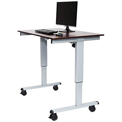 Upas Silver and Dark Walnut Small Electric Standing Desk
