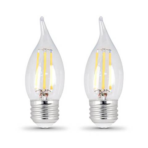 60W Equivalent Clear 6W LED Dimmable Flame-Tip 2-Pack