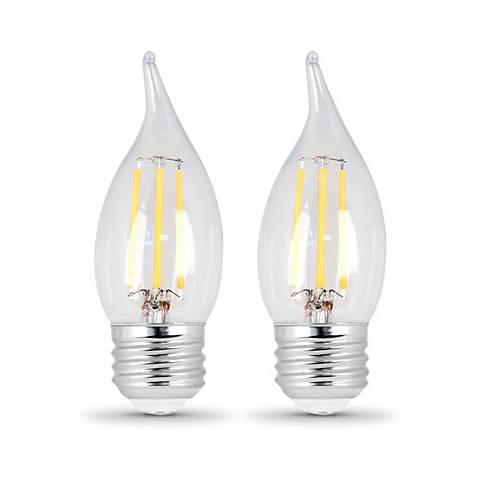 35W Equivalent Clear 4.5W LED Dimmable Flame-Tip 2-Pack