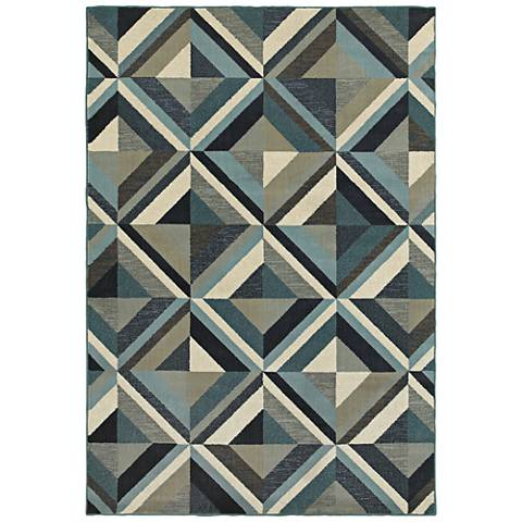Linden 7902A Blue and Gray Area Rug