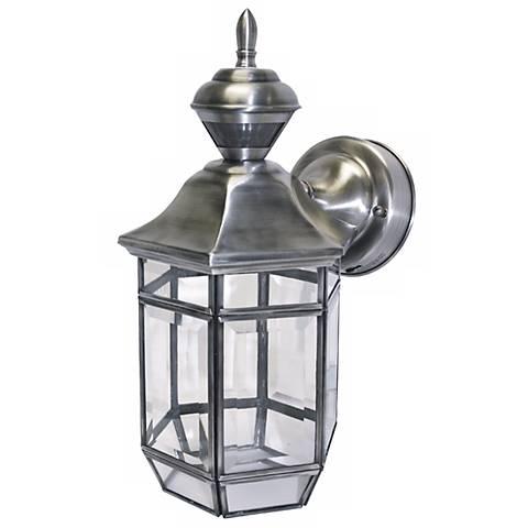 "Motion Sensor 13 1/2"" High Antique Silver Outdoor Light"