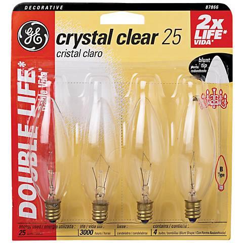 4-Pack of Blunt-Tip 25 Watt Candelabra Base Bulbs