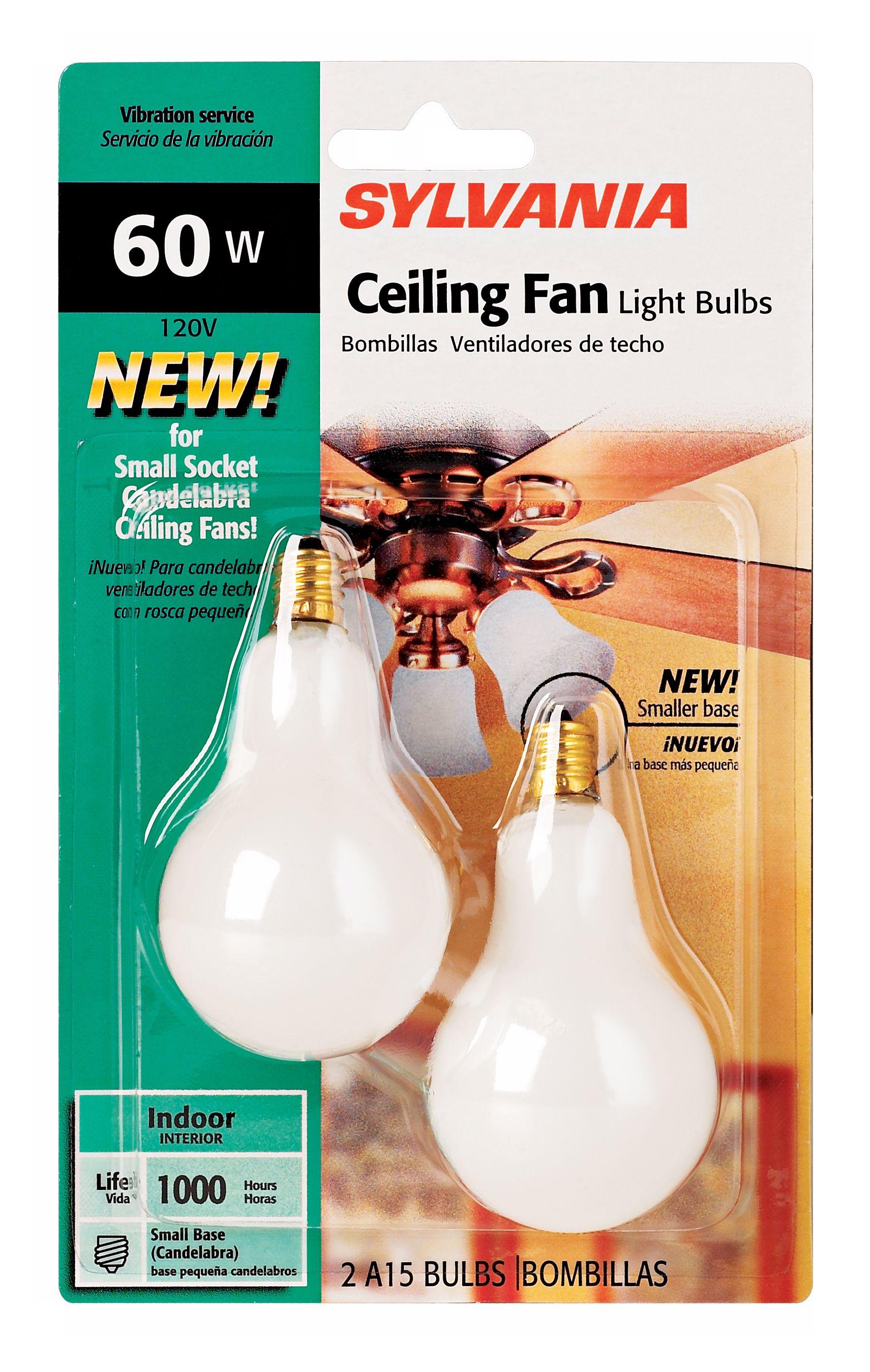 sylvania 2pack 60 watt candelabra ceiling fan light bulbs
