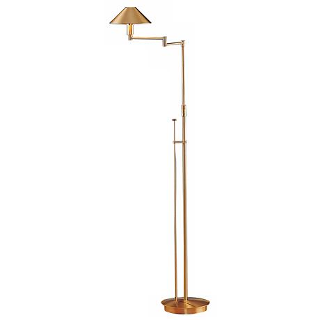 holtkoetter brushed brass small shade swing arm floor lamp 34942 lamps plus. Black Bedroom Furniture Sets. Home Design Ideas