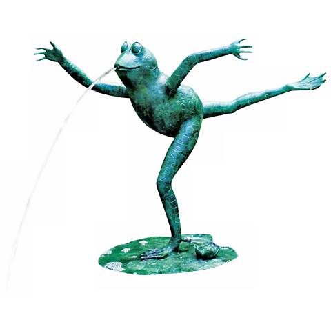 "Arabesque Frog 23"" HIgh Cast Brass Fountain Pond Spitter"