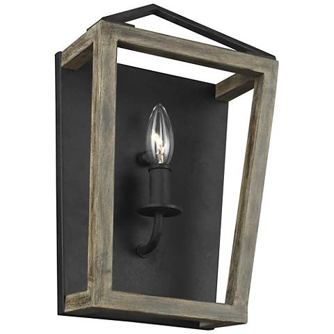 """Gannet 14 1/4""""H Weathered Oak and Forged Iron Wall Sconce"""