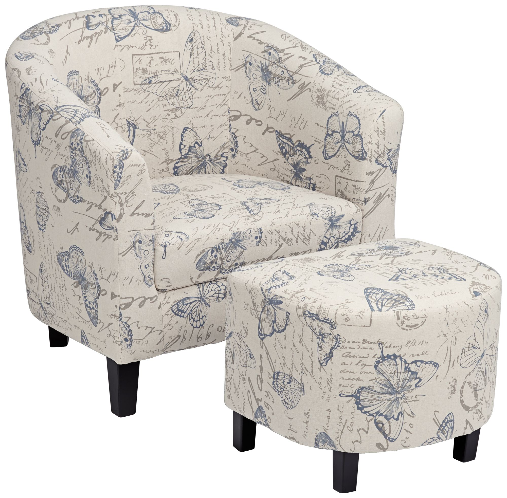 Butterfly Print Accent Chair With Ottoman
