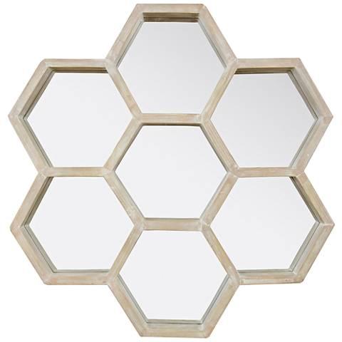 "Varaluz Casa Levitt Gray 28"" x 27"" Honeycomb Wall Mirror"
