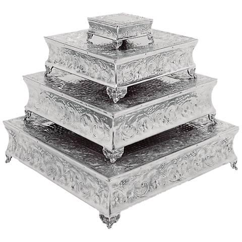 Kyoto Polished Silver Aluminum 4-Piece Cake Stand Set