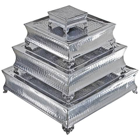 Pagoda Polished Silver Aluminum 4-Piece Cake Stand Set