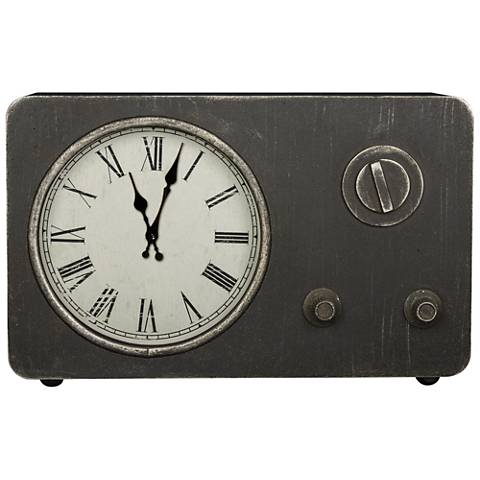 "Cooper Classics Laney Worn Gray 18 1/4""W Metal Table Clock"
