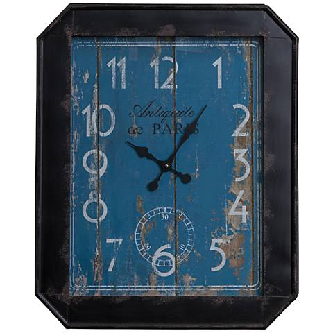 """Margaret Distressed Navy and Sky Blue 33"""" High Wall Clock"""