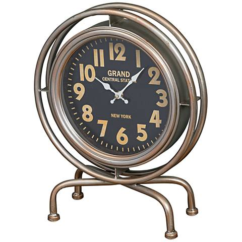 "Cooper Classics Grande Silver 15"" High Table Clock"
