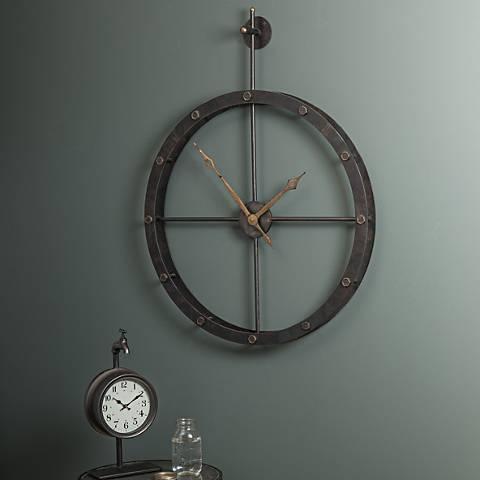 """Cooper Classics Hampton Black 41""""High Metal Wall Clock"""