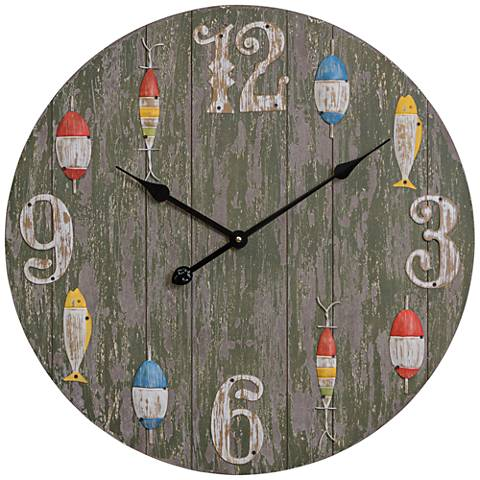 "Lakewatch Distressed Gray and Green 24"" Round Wall Clock"