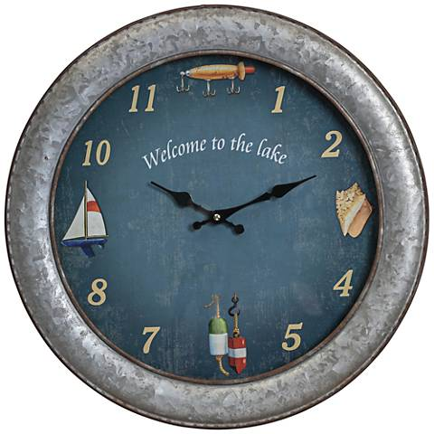"""Cooper Classics Westlake Aged Silver 18"""" Round Wall Clock"""