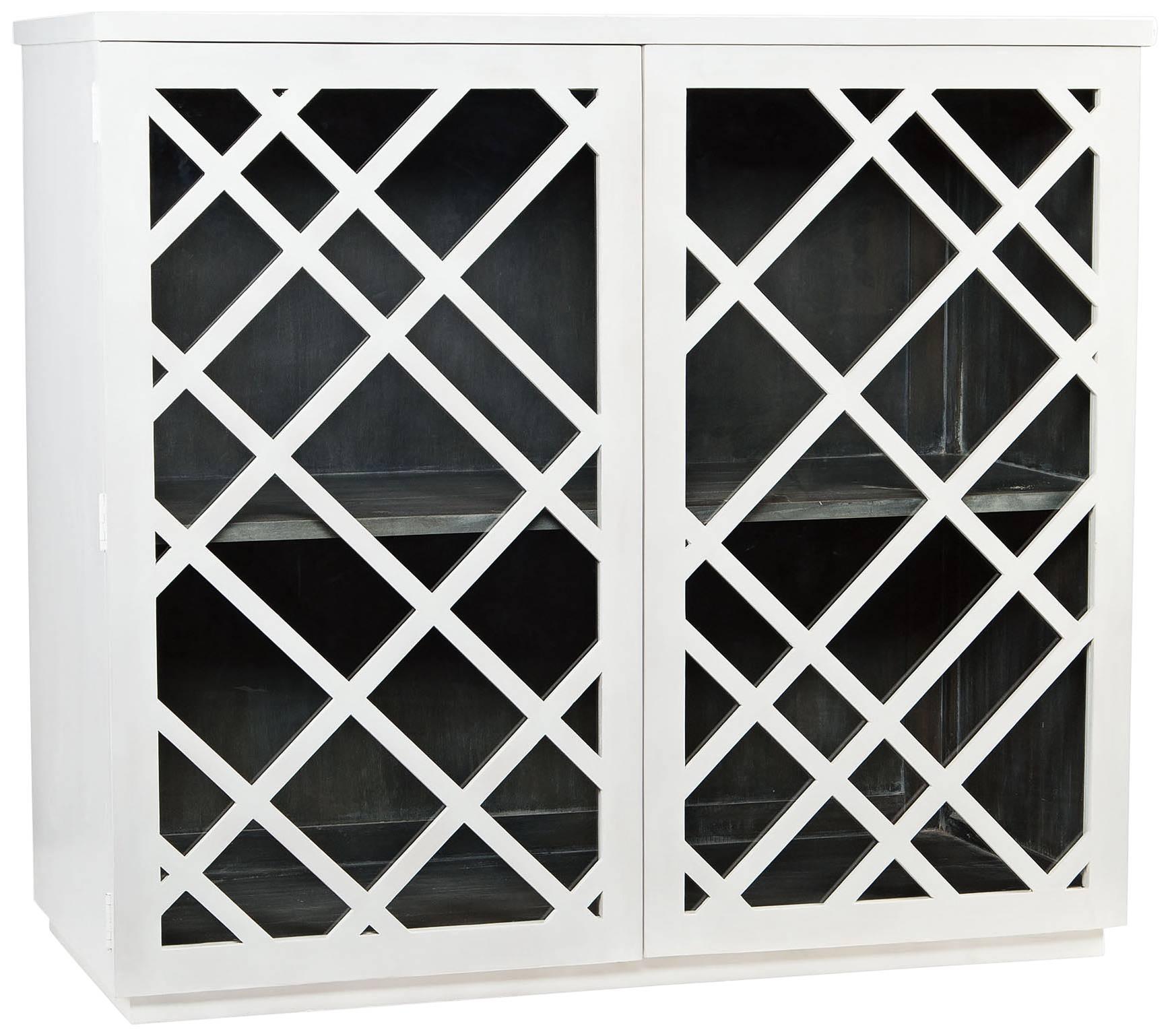 Charly Natural Whitewash 3 Door Lattice Accent Cabinet