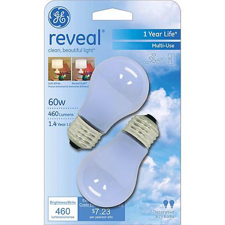 GE Reveal 2-Pack 60 Watt Ceiling Fan Light Bulbs
