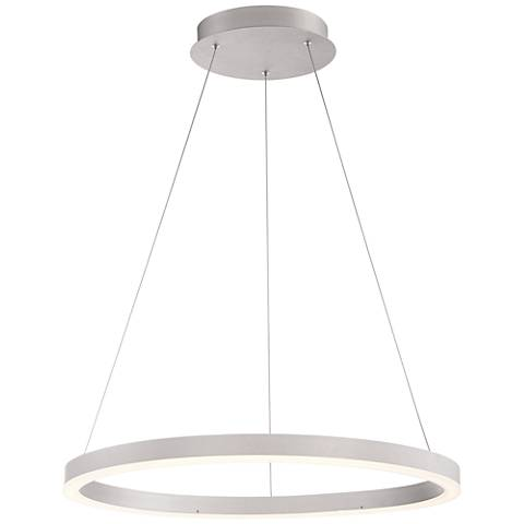 "Eurofase Spunto 27 1/2"" Wide Silver LED Ring Pendant Light"