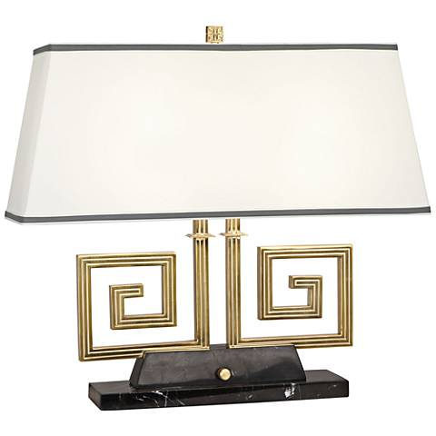 Mykonos Brass and Black Marble Double Accent Table Lamp