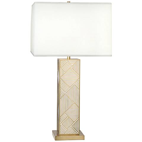 Lloyd Modern Brass over White Lacquered Metal Table Lamp