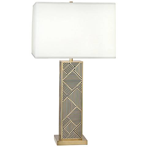 Lloyd Modern Brass over Black Lacquered Metal Table Lamp