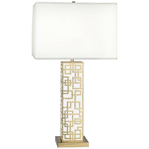 Lloyd Modern Brass over White Lacquered Table Lamp