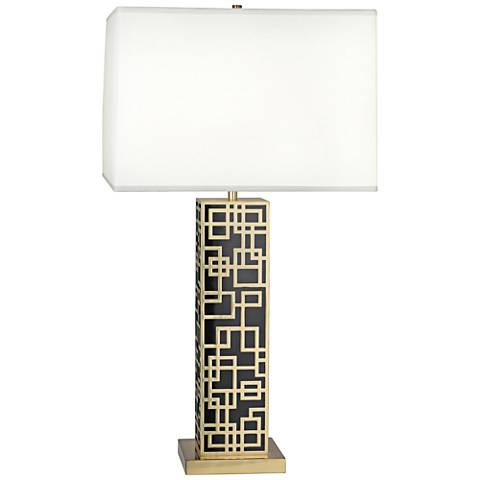 Lloyd Modern Brass over Black Lacquered Table Lamp