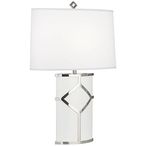 Diamond White Lacquer and Polished Nickel Table Lamp