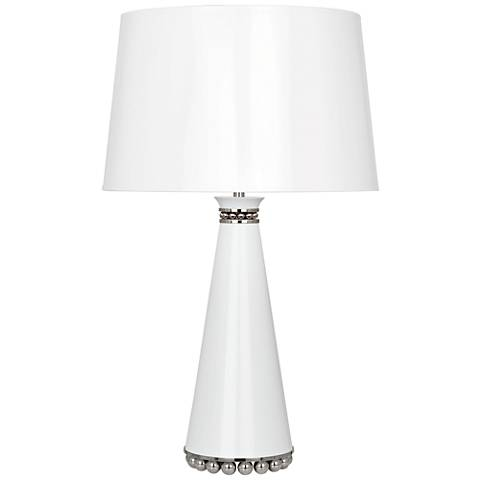 Pearl Lily and Polished Nickel Table Lamp with Lily Shade
