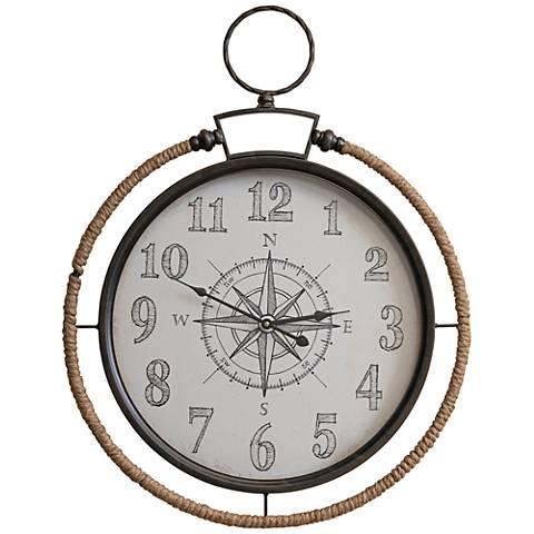 """Cooper Classics Compass Black 30 3/4"""" High Wall Clock"""