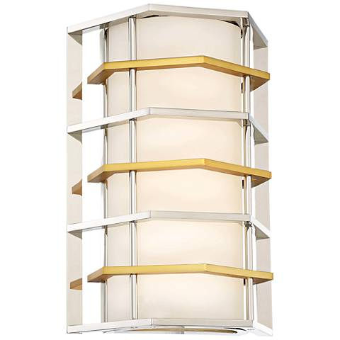 """Levels 13""""H Polished Nickel and Honey Gold LED Wall Sconce"""