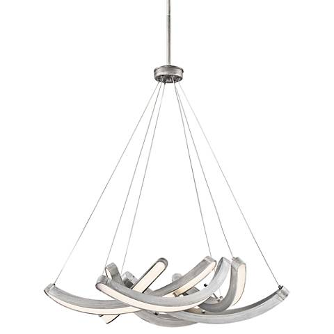 """Swing Time 25"""" Wide Brushed Silver LED Chandelier"""