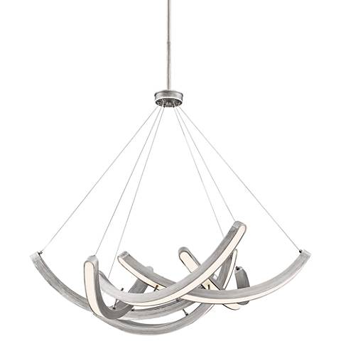 "Swing Time 30"" Wide Brushed Silver LED Chandelier"